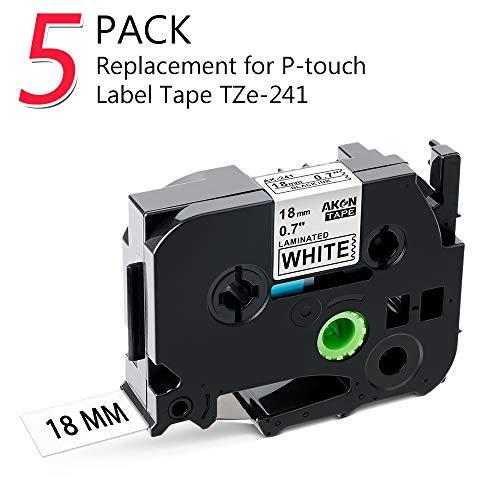 Kompatibel Brother P-touch Schriftband TZe-241 TZ-241 18mm schwarz auf weiß, Kostengünstig Schriftbandkassette für Beschriftungsgerät Ptouch 1830 D400 D450 D600 P700 2430, 5er-Packung