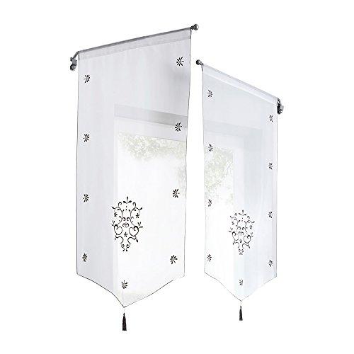 Tendina a pacchetto tenda triangolare tende da ricamo per finestra, balcone, soggiorno, camera da letto (grey, 60x120cm)