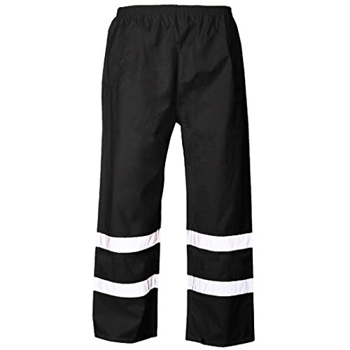 MyShoeStore Hi VIS Viz 2 Band PU Over Trousers High Visibility Waterproof Safety Work Wear Reflective Tape Stripe Elasticated Waistband Bottoms Workwear Pants Plus Big Size S-4xl Test