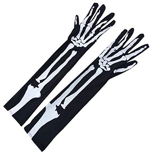ZJPP Handschuhe für Halloween Kostüm Cosplay Party, Weiße Knochen Skelett Handschuhe, Strapazierfähige Gummihandschuhe, Halloween Accessoires (Weiß Friedhof Ghost Kostüm)