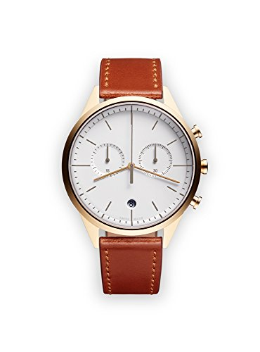 uniform wares c39 quartz watch with grey chronograph dial with brown leather strap
