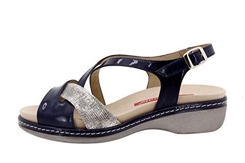 Chaussure femme confort en cuir Piesanto 8812 sandale semelle amovible confortables amples Marino