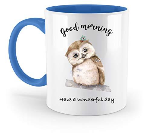 Jimbeels Guten Morgen | Kaffee & Tee | Lustige kleine Eule | Kaffeetasse - Zweifarbige Tasse -330ml-Blau (Eule Kaffee Blaue Tasse)