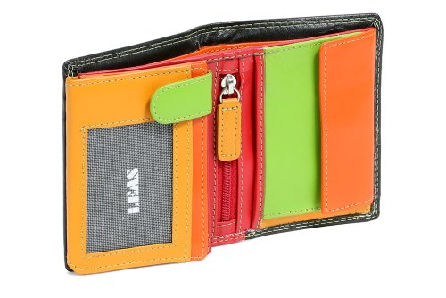 Mini-Kombibörse mit Riegel im Hochformat LEAS in Echt-Leder, bunt - LEAS Multicolore-Serie (Damen-geldbörse Multi-pocket)