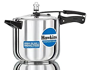 Hawkins Stainless Steel Pressure Cooker, 6 Litres, Silver