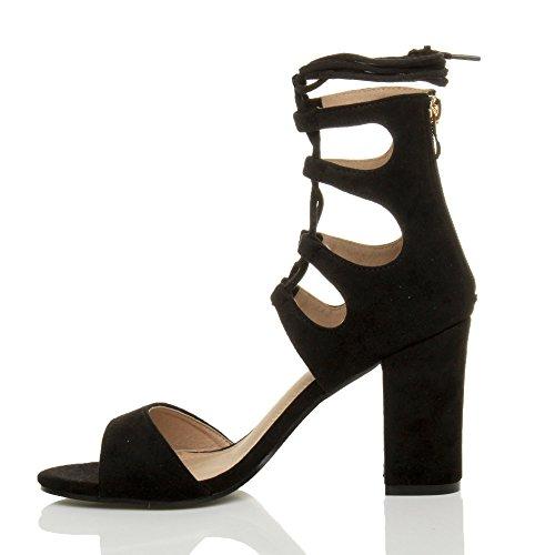 Damen Hohe Absatz Ausgeschnitten Schnür-Pumps Peep Toe Schuhe Sandalen Größe Schwarz Wildleder