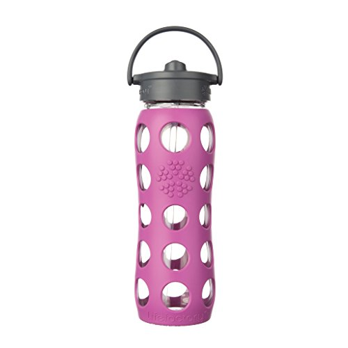Lifefactory Glas-Trinkflasche mit Straw Cap, Huckleberry, 650 ml, 15575