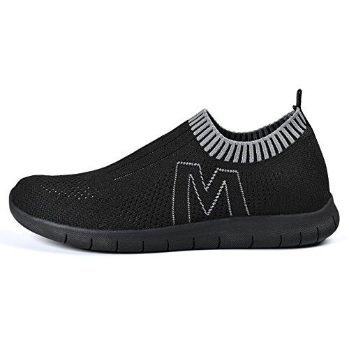 QANSI Chaussure de sport Réspirant et Légère Chaussure de Running Basket Mode Pour Homme Noir