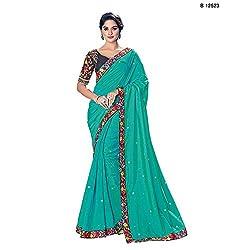 Mahotsav Party & Wedding Wear Green Color Unstitched Lehenga Saree