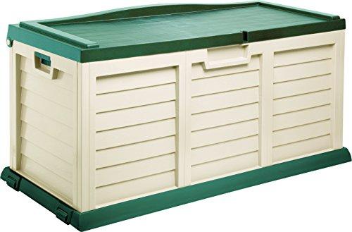 Auflagenbox / Gartenbox / Kissenbox XXL MIT SITZFLÄCHE ca. 142cmx 62 x 74 cm / Farbe: beige/grün!!!!!