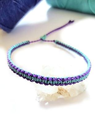 Bracelet brésilien/amitié/surf/tissage plat et fin en fil Violet et Bleu turquoise tissé main en macramé avec du fil ciré et ajustable Réf.PPVioTur