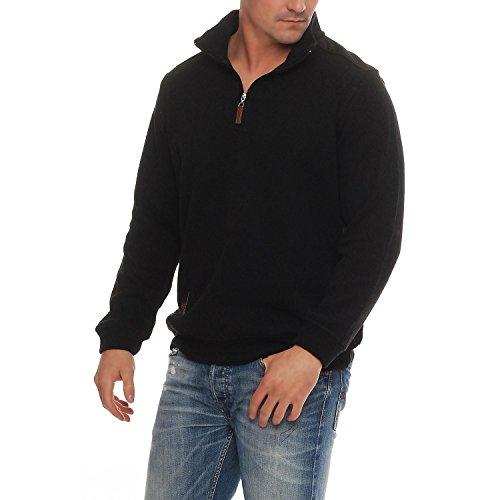 Benter Herren Pullover Sweatshirt Feinstrick Baumwollpullover mit Stehkragen Logo Patches Regular Fit 16883 Schwarz