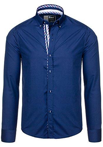 BOLF – Chemise casual – avec manches longues – BOLF 5820– Homme Blau foncé