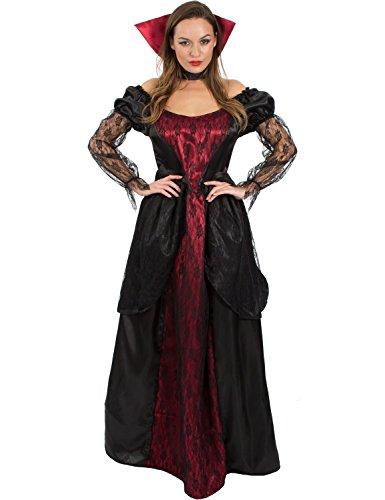 Meine Damen Vampiress Viktorianischen Vampir Lang Halloween Kostüm (Vampir Kostüme Viktorianischer)