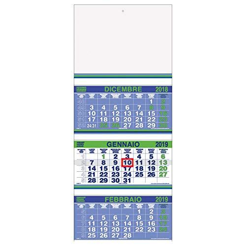 Calendario murale Trittico FLUO 2019 a 3 blocchi VERDE 33x80 - calendario 3 mesi