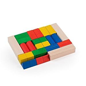 Milaniwood mwd-CCB-Juguetes de Madera construcción-Basic Madera Multicolor, 30Piezas