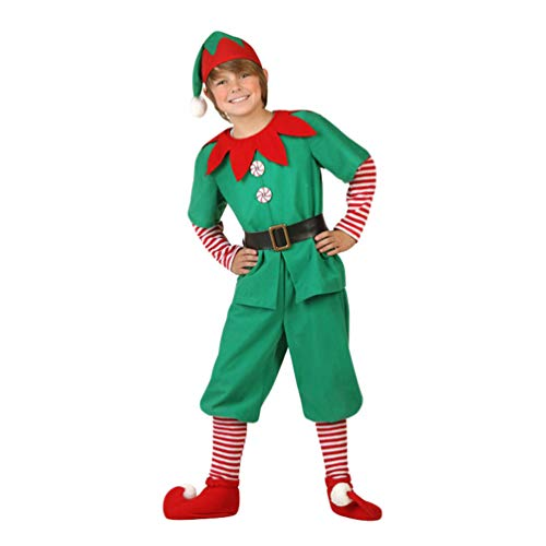JEELINBORE Unisex Adulto Bambini Elfo di Natale Costume con Cappello Santa's Little Helper Costume da Elfo Natalizie Fancy Dress Cosplay Halloween (Maschio, 140)