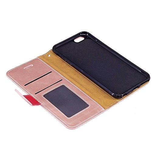 BING Für iPhone 6 / 6s, Crazy Pferd Textur PU Leder Horizontale Flip Leder Tasche mit Halter & Card Slots & Wallet & Photo Frame & Lanyard BING ( Color : Red ) Rose gold