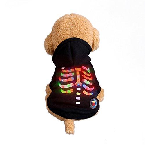 üm, Haustier Kleidung, Hund Kleidung, Haustier Glühen Kleidung, Leuchten Im Dunkeln, Hund Halloween Halloween Glühen Kostüm, Multicolor Rippen Stil - Schwarz - S ()