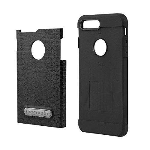 GR Angibabe Color Lattice Texture TPU + PC Schutzhülle mit Halter für iPhone 7 Plus ( Color : Black ) Black