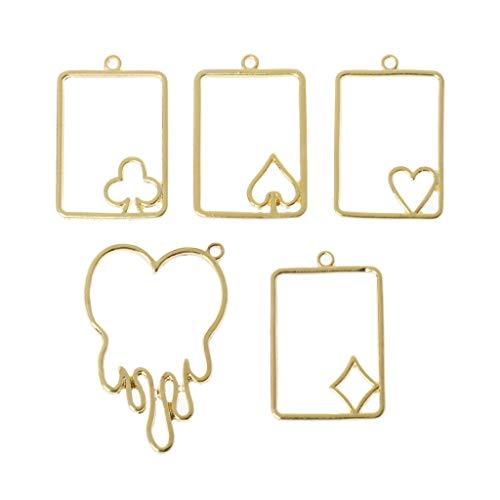 Poker-Karte, schmelzendes Herz, Metallrahmen, Schmuck, UV-Harz, 5 Stück
