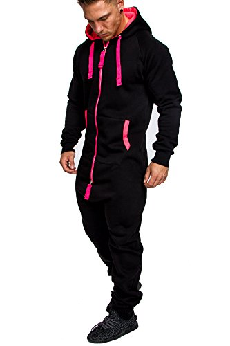 Amaci&Sons Herren Overall Jumpsuit Jogging Onesie Trainingsanzug Camouflage 3004 Schwarz/Pink (Jumpsuit Herren Schwarz)
