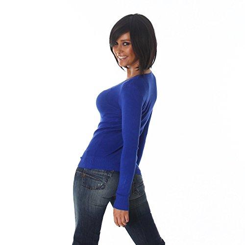 Damen Pullover Sweat Pulli Shirt Feinstrick V-Ausschnitt Sweater Langarm Sweatshirt Blau