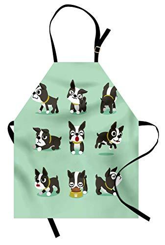 ABAKUHAUS Boston Terrier Kochschürze, Minimalistischer Entwurf des Cartoon-Charakters des spielerischen Hundes, Maschienenwaschbar Wasserdicht kein Verblassen, Anthrazit grau Mintgrün und Weiß (Billig Cartoon Kostüme Charakter)