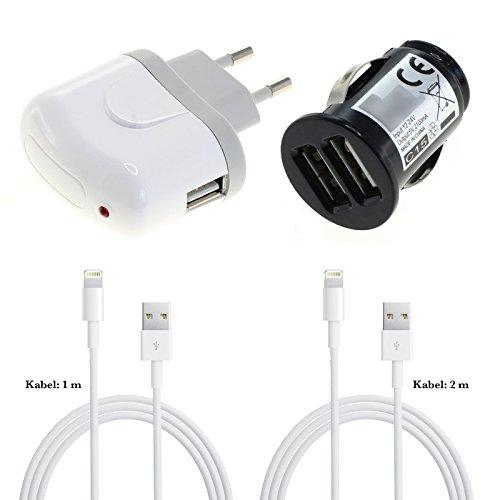 GIGAFOX® 4-teiliges Ladeset: Dual KFZ Adapter + Netzstecker + 2 x Datenkabel - für Apple iPod Touch 5. Generation 32 GB - für schnelles Laden