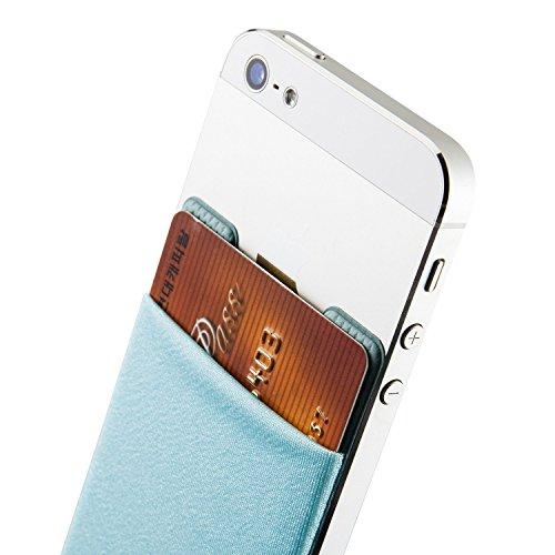 Sinjimoru B2 Smart Wallet (aufklebbarer Kartenhalter), verwendbar als iPhone Wallet / Handy Geldbeutel / Kartenetui für iPhones, iPhone Cases, Android Smartphones. Sinji Pouch Basic 2, Beige. Hellblau