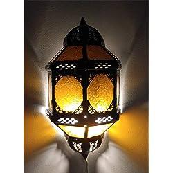 Casablanca Orient Marrakesch lámpara de Pared Hierro Cristal, lámpara marroquí de Pared leuchte| heimtexland = 44x 22,5cm, 100% Hecho a Mano, Amarillo
