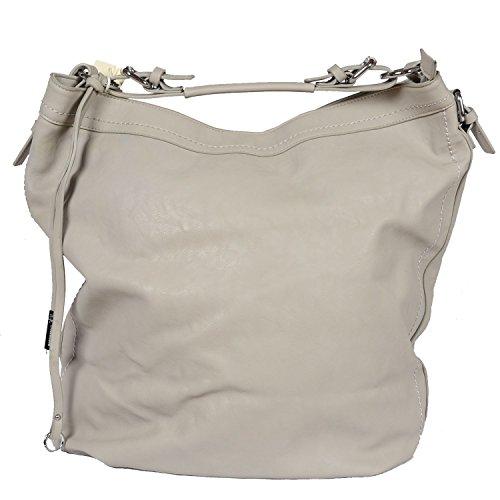 Designer Tasche Kunst Leder Handbag Handtasche Metall Henkeltasche Abendtasche Schultertasche City Tote Bag Grau (Chanel Handtaschen Leder)