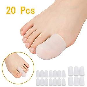 20 Stück Gelkappe, verhindern Hornhaut und Blasenbildung, Silikon-Zehenschutz für Frauen und Männer