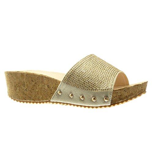 Angkorly Damen Schuhe Mule Sandalen - Plateauschuhe - Strass - Nieten - Besetzt - Kork Keilabsatz High Heel 5 cm - Beige PN1550 T 39 (Kork Heels)