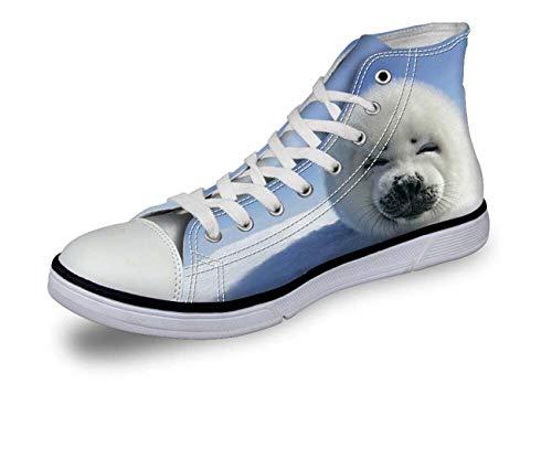 Mens Hi Tops Trainers Flat Canvas Pumps Fashion Animals Summer WalkIing Shoes CA5155AK White UK 9 -