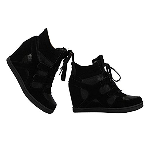 Ladies Lace Up Sneakers Trainers Hidden Wedge Heel Ankle Boots Size 5