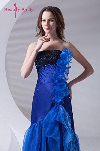 Beauty-Emily Increspature senza bretelle brevi in vestiti anteriori Blu reale
