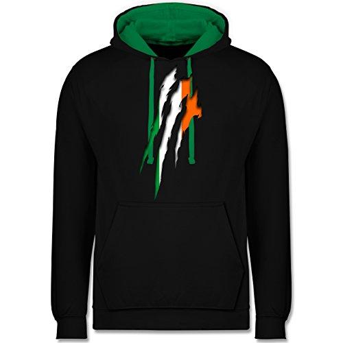 Länder - Irland Krallenspuren - Kontrast Hoodie Schwarz/Grün
