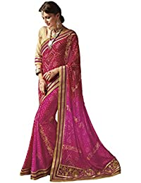 EthnicJunction Women's Georgette Bandhani Zari Lace Border Saree With Blouse(Multicolored Flirt Color,EJ1173-5280)