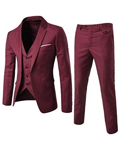ca79e834198b Kasena abito 3 pezzi set completo uomo blazer gilet e pantaloni slim fit  elegante rosso s
