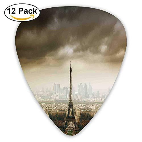 Paris Skyline Cloudy Cityscape Silhouette Stormy European Birds Eye View Realistic Guitar Picks 12/Pack Set