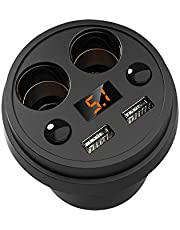 ELEPAIO 3.1A Fast Charging Car Cup Holder Adapter Charger Dual USB Auto 12V Socket Splitter Vehicle Power Splitter Car Accessories (2 Lighter)