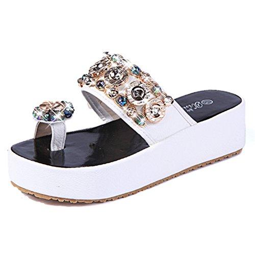 spessa piattaforma scarpe moda estate/Signore coreano strass scarpe piatte/Flip flop C