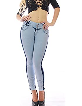 FARINA 1121 Denim Pantalones, Vaqueros de Mujer, Push up/Levanta Cola, Pantalones Vaqueros Elasticos Colombian...