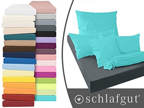 Serie basic von schlafgut aus 100% Baumwolle in 30 Uni-Farben +++ Mako-Jersey-Spannbetttuch +++ Mako-Jersey-Kissenbezug erhältlich in 3 Größen, türkis, Kissenbezug 40 x 80 cm