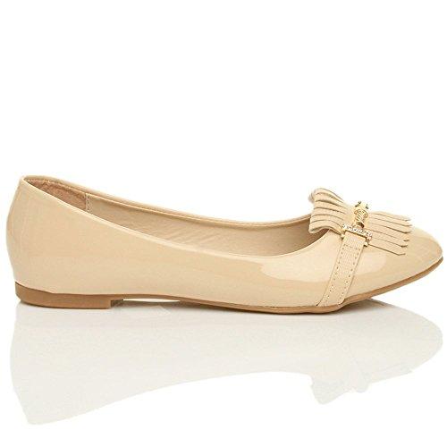Femmes plat pompon frangés ballerine travail chaussures classique pointure Verni beige