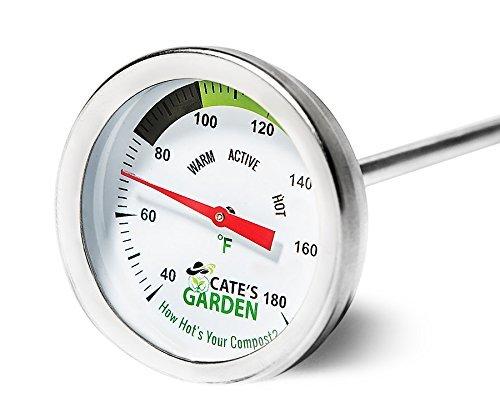 Kompost Thermometer Boden Thermometer Garten Premium Edelstahl Bimetall Thermometer für Backyard Kompostierung (50,8cm) (Edelstahl-kompost-thermometer)