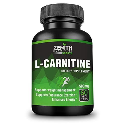 Zenith Sports L-Carnitine 500mg, 60 Capsules   Fat Burner   Boosts Energy