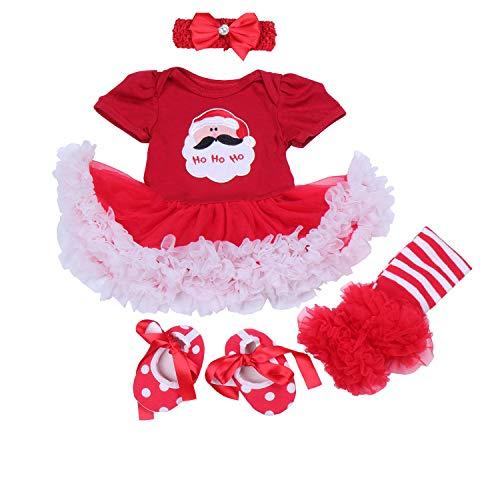 BabyPreg® Baby Mädchen mein erstes Weihnachten Sankt Kostüm-Partei-Kleid 4PCS (XL12-18 Monate, Weihnachten ()