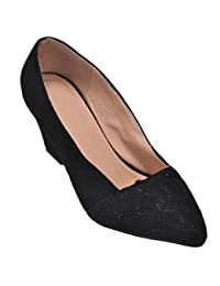 Show Stopper Black Coloured Suede Upper Slip-on Sandal For Women